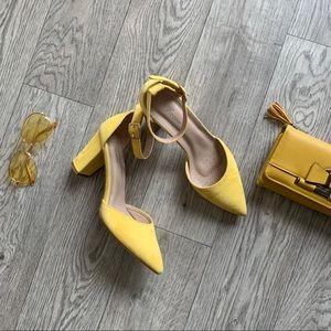 Yellow velvet ankle strap heels